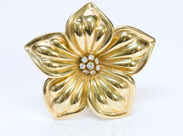 Van Cleef & Arpels 18K Gold Diamond Flower Brooch