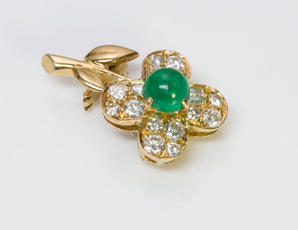 Van Cleef & Arpels Emerald Diamond Gold Pin Brooch