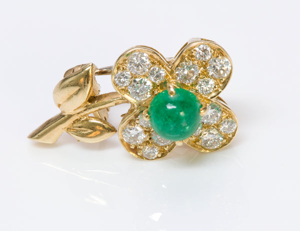 Van Cleef & Arpels Emerald Diamond Flower Gold Pin Brooch