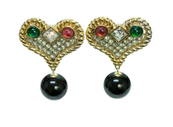 Valentino Vintage Heart Crystal Earrings