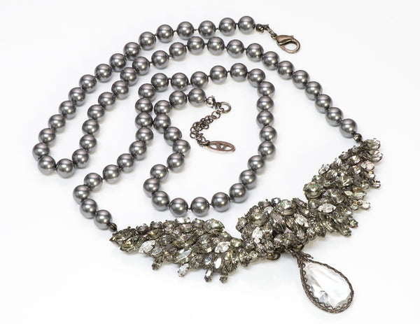 Valentino Garavani Couture Wing Crystal Gray Pearl Necklace