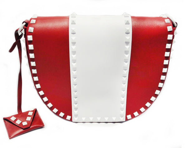 VALENTINO Leather Rockstud Saddle Crossbody Bag
