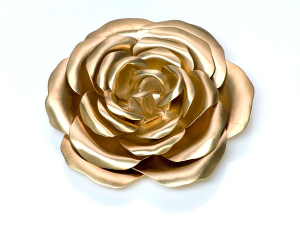 Valentino Garavani Couture Gold Tone Rose Flower Brooch