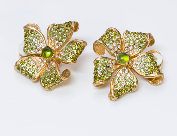 Valentino Garavani Green Crystal Flower Earrings