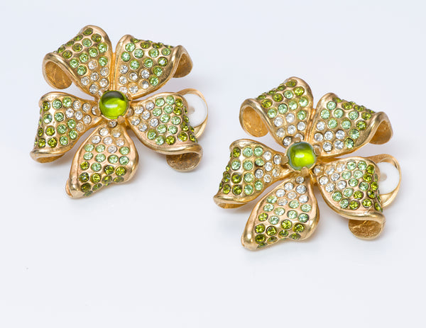 Valentino Garavani 1980's Green Crystal Flower Earrings