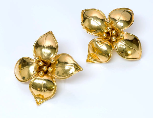 Valentino Garavani Couture Gold Tone Flower Earrings