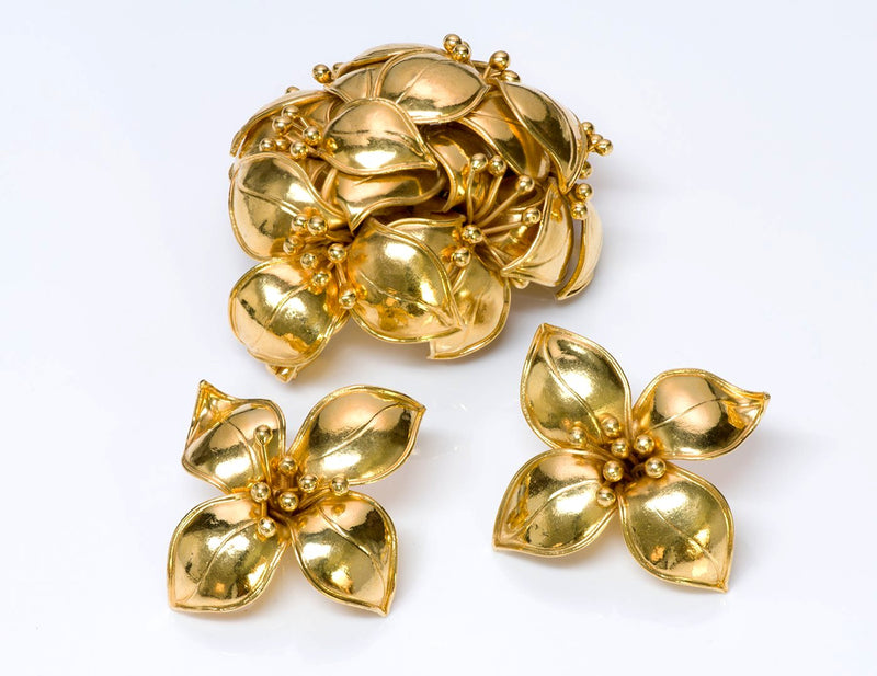 Valentino Garavani Couture Flower Earrings Brooch Set