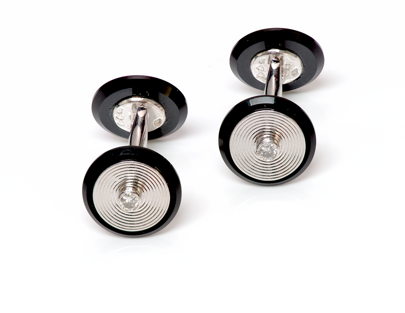 Van Cleef & Arpels Diamond Onyx 18K Gold Cufflinks