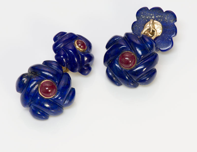 Verdura Gold Lapis Ruby Cufflinks 3
