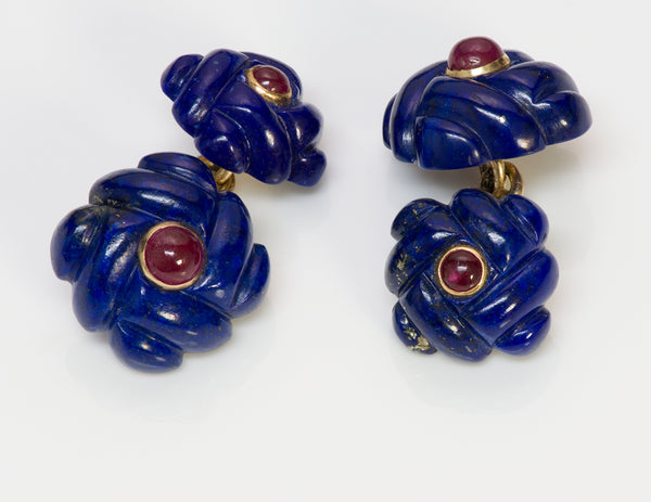 Verdura Gold Lapis Ruby Cufflinks 4