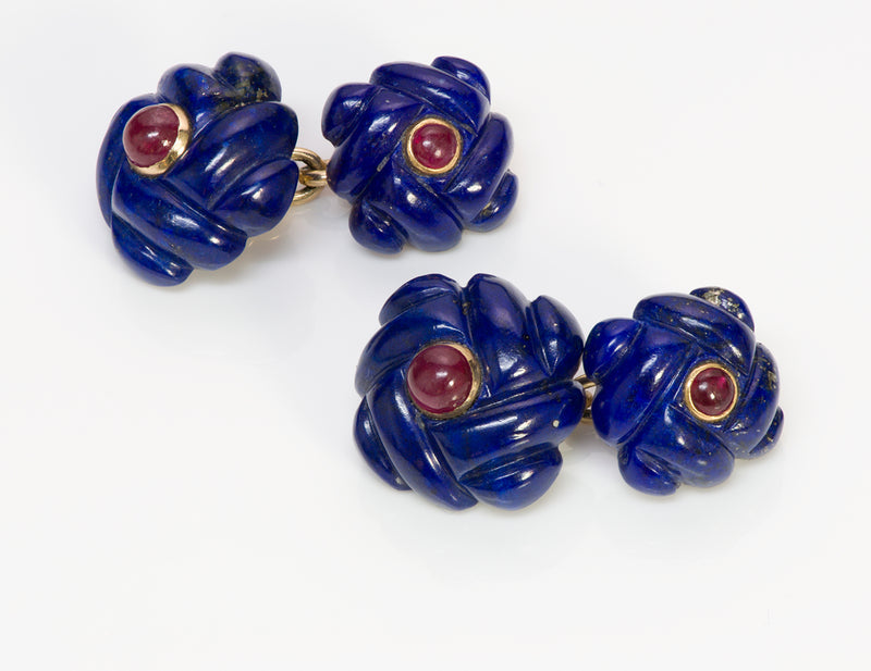 Verdura Gold Lapis Ruby Cufflinks 1