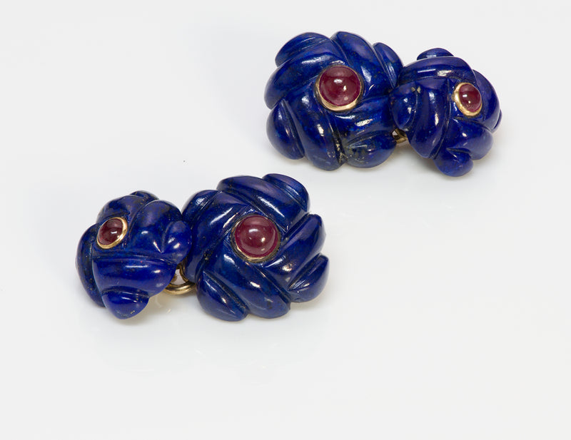Verdura Gold Lapis Ruby Cufflinks