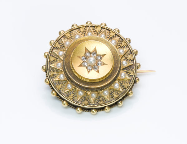Antique Victorian Diamond Pearl Gold Brooch