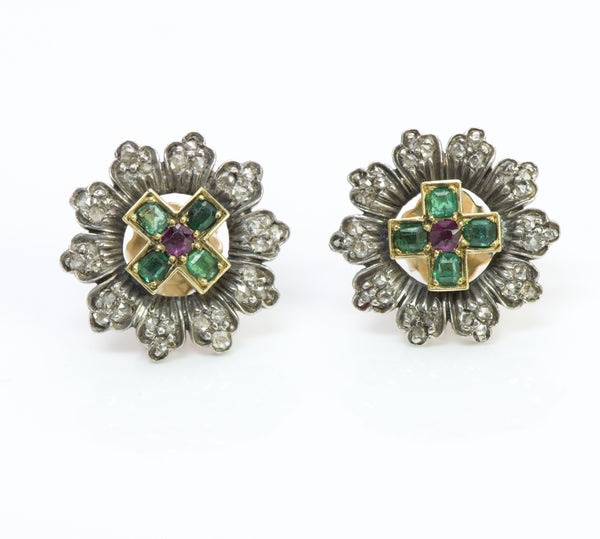 Antique Gold & Silver Emerald Diamond Ruby Earrings