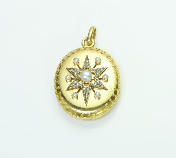 Antique Victorian Gold Pearl Diamond Locket Pendant