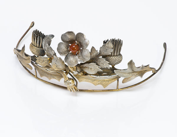 Antique Silver Carnelian Tiara