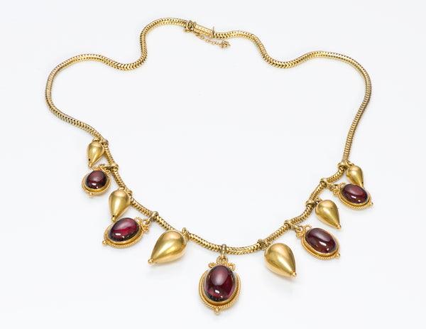 Victorian Antique Gold Garnet Necklace