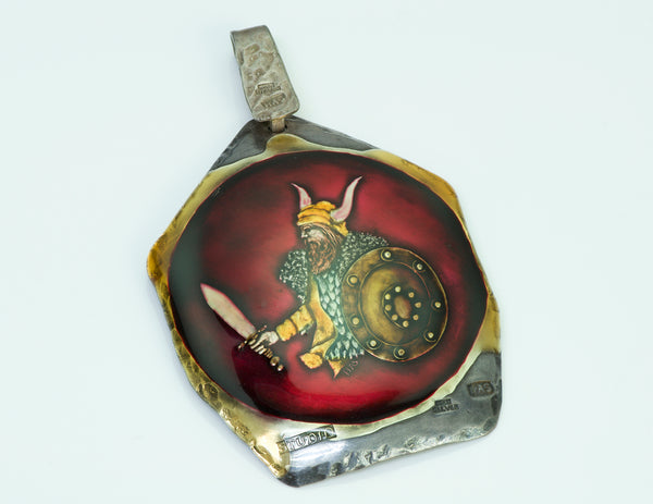Viking Warrior Enamel Pendant