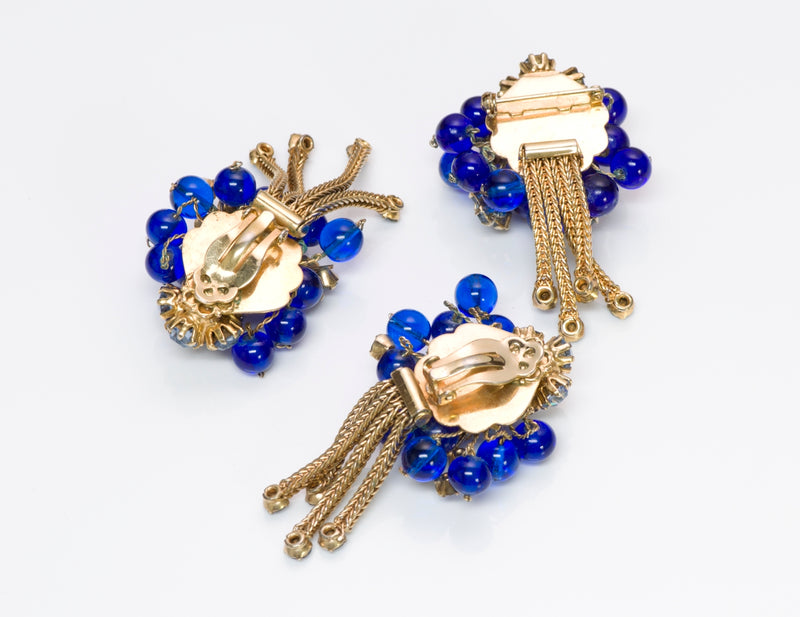 Vintage 1950's Blue Brooch & Earrings Set