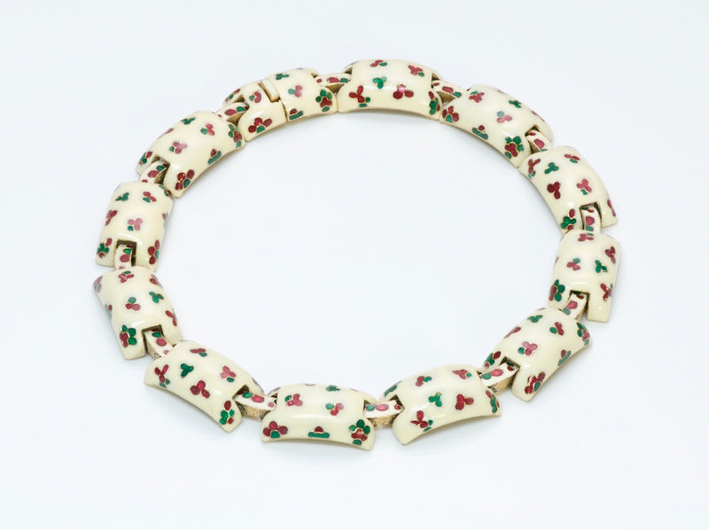 Ciner Vintage White Enamel Choker Necklace