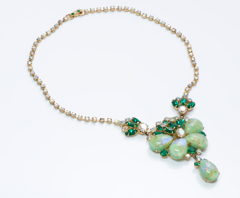 Vintage Green Crystal Costume Jewelry Necklace Brooch