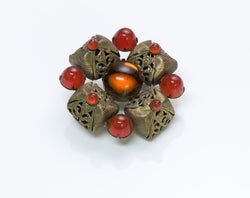 Vintage Costume Jewelry Cabochon Glass Brooch