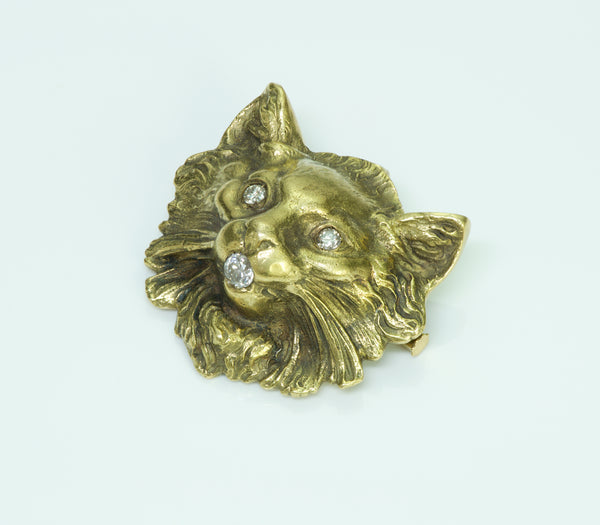 Cat Diamond Gold Vintage Brooch/Pendant