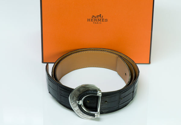 Hermès Tuareg Silver Alligator Belt