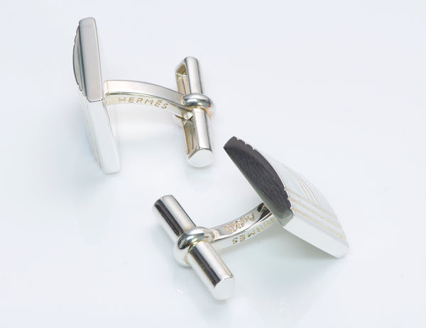 Hermès Silver Kelly Lock Cufflinks