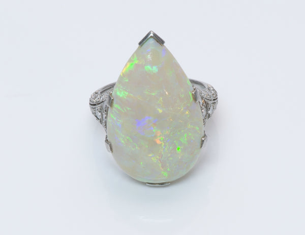 Edwardian Opal Diamond Gold Ring
