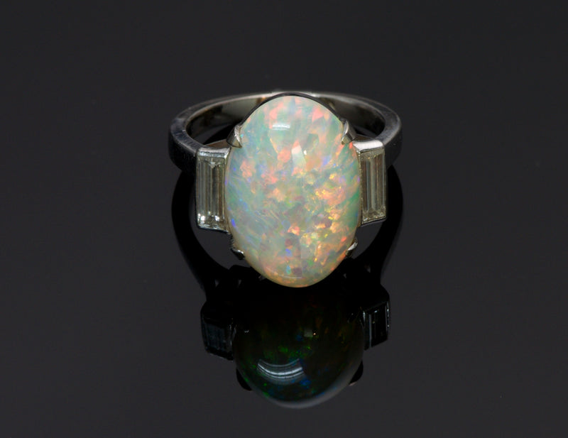 Opal Diamond Platinum Ring