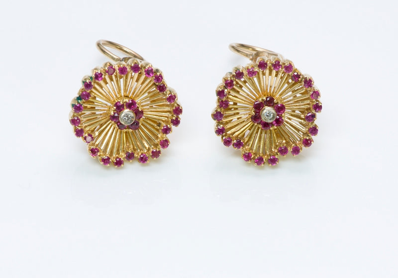 Vintage Ruby Diamond Gold Earrings