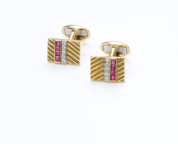 Vintage Ruby Diamond Gold Cufflinks