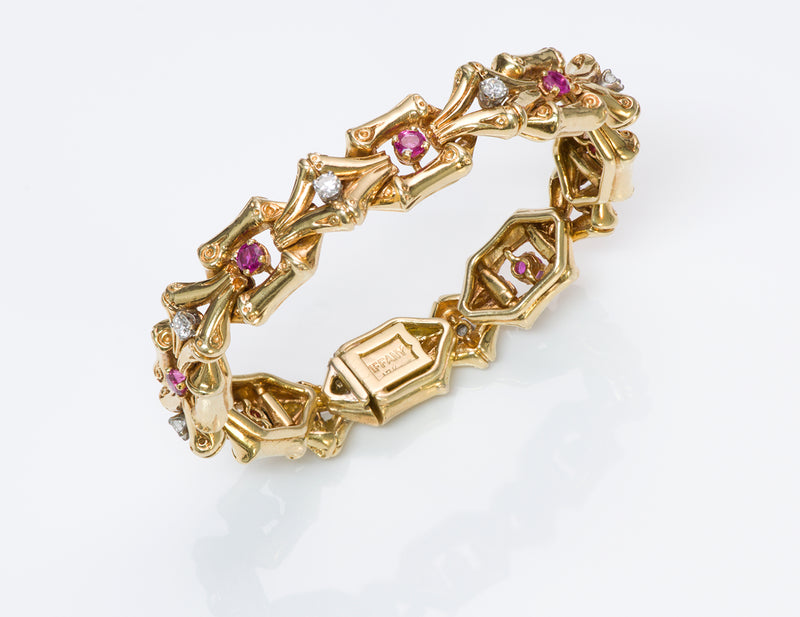 Tiffany & Co. Gold Ruby Bamboo Bracelet