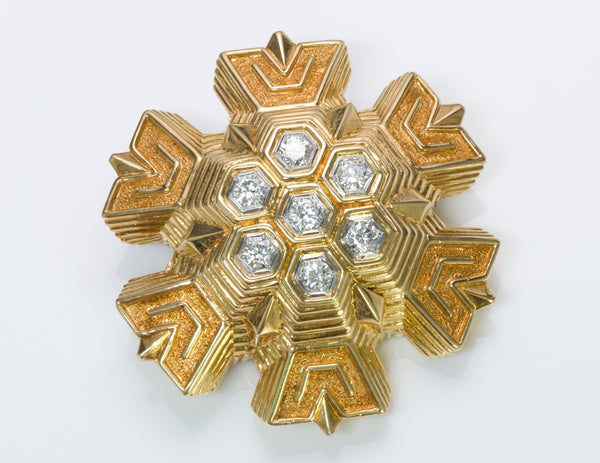Tiffany & Co. Snowflake 18K Gold Diamond Brooch Pendant