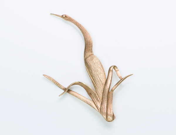 Tiffany Yellow Gold Crane Brooch