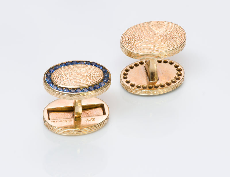 Tiffany & Co. Oval Sapphire Gold Cufflinks