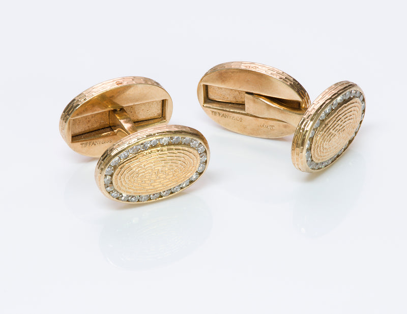 Tiffany & Co. Oval Diamond Gold Cufflinks