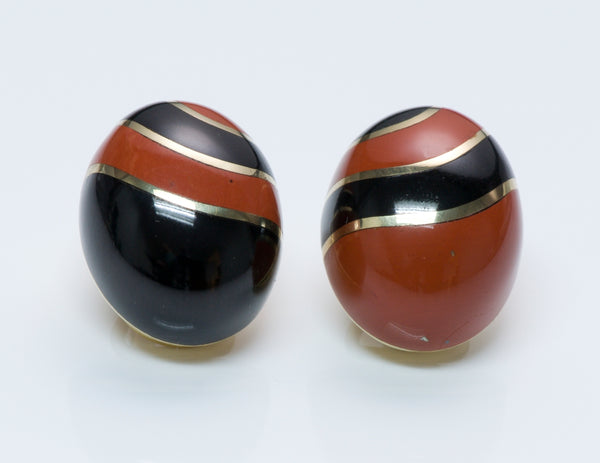 Tiffany & Co. Carnelian & Onyx Gold Earrings