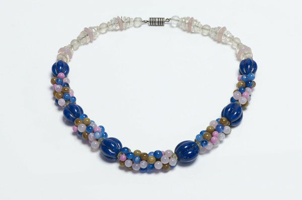 Vintage 1930's French Blue Pink Glass Beads Necklace