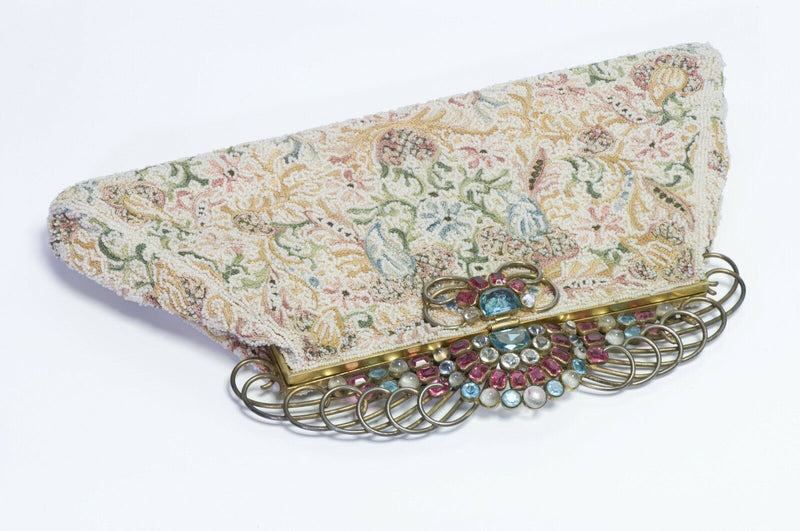 Vintage 1940's Josef USA Beaded Clutch Bag with HOBE Crystal Frame