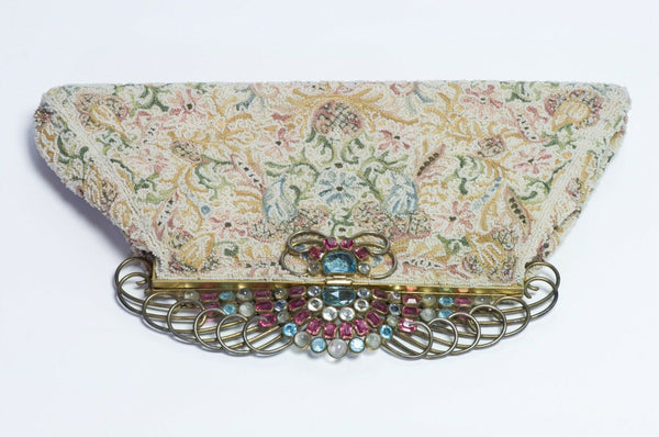 Vintage 1940's Josef USA Beaded Clutch Bag with HOBE Blue Pink Crystal Frame
