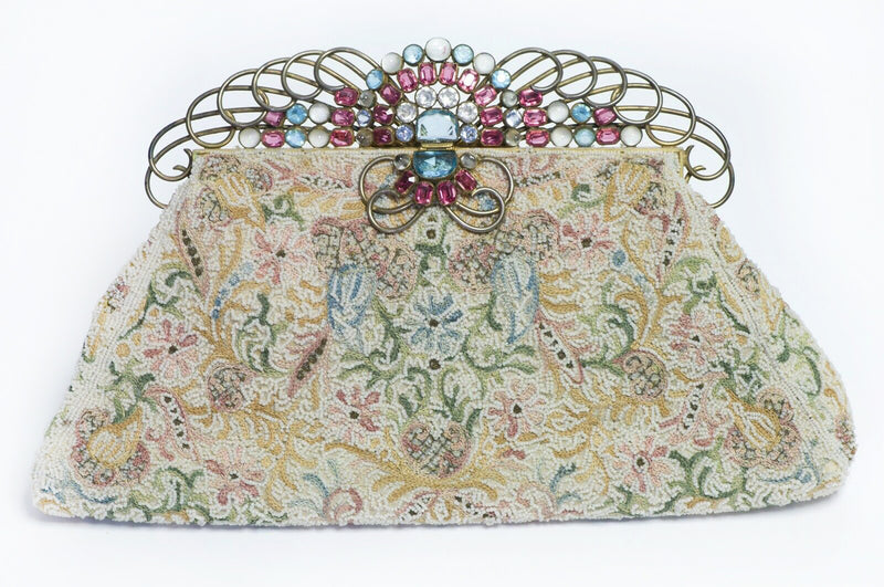 Vintage Josef USA Beaded Clutch Bag HOBE Blue Pink Crystal Frame