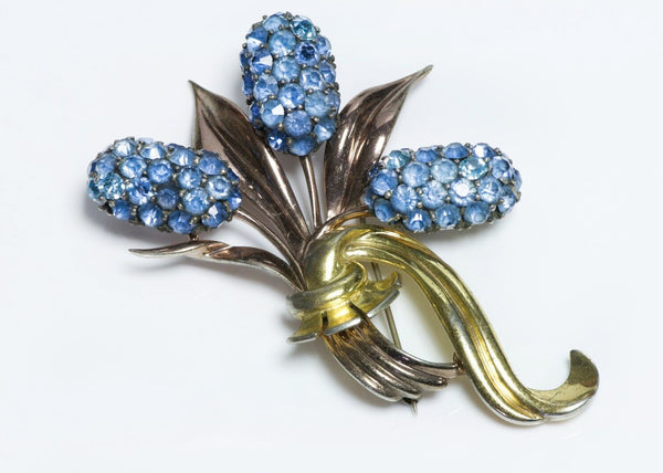 Pennino Sterling Silver Blue Crystal Cattail Brooch