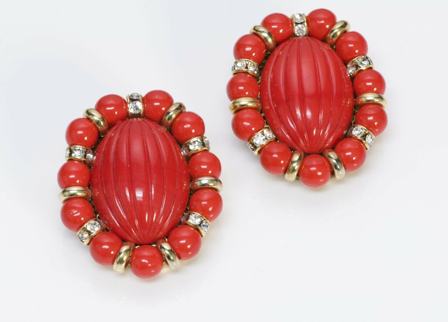 Vintage 1950's French Red Glass Beads Crystal Oval Earrings