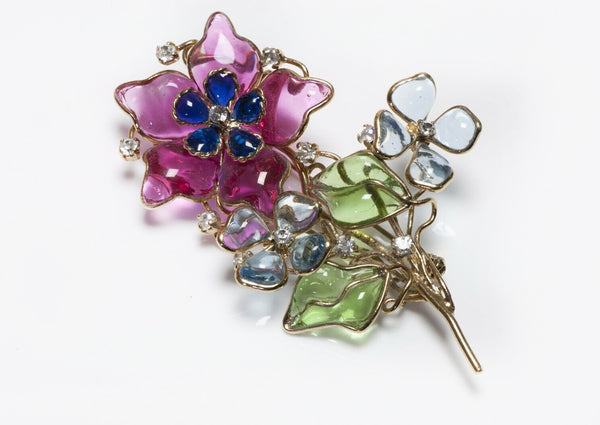 Gripoix Poured Glass Flower Brooch