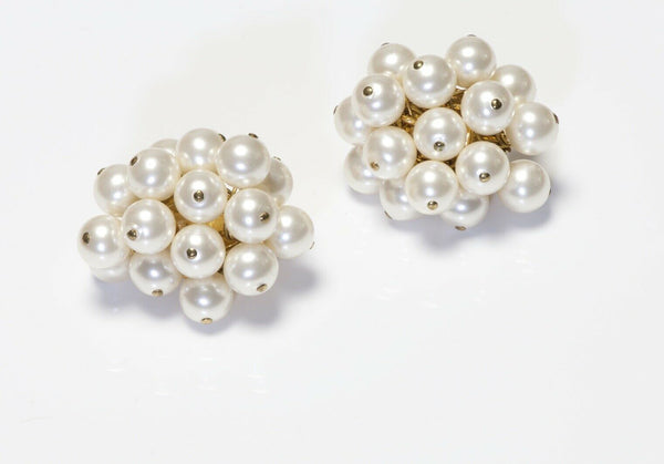 Vintage CHANEL Paris 1990's Pearl Cluster Earrings