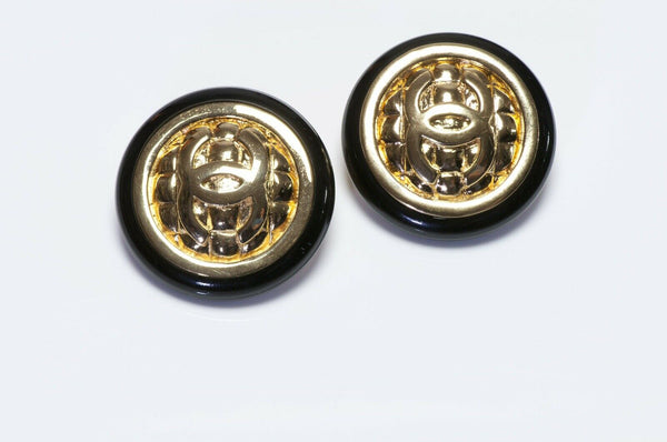 Vintage CHANEL CC Quilted Black Earrings