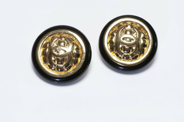 Vintage CHANEL Paris CC Quilted Black Earrings