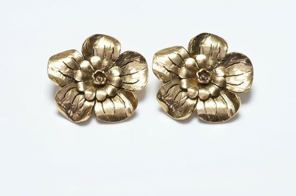 Vintage CHANEL Camellia Flower Earrings
